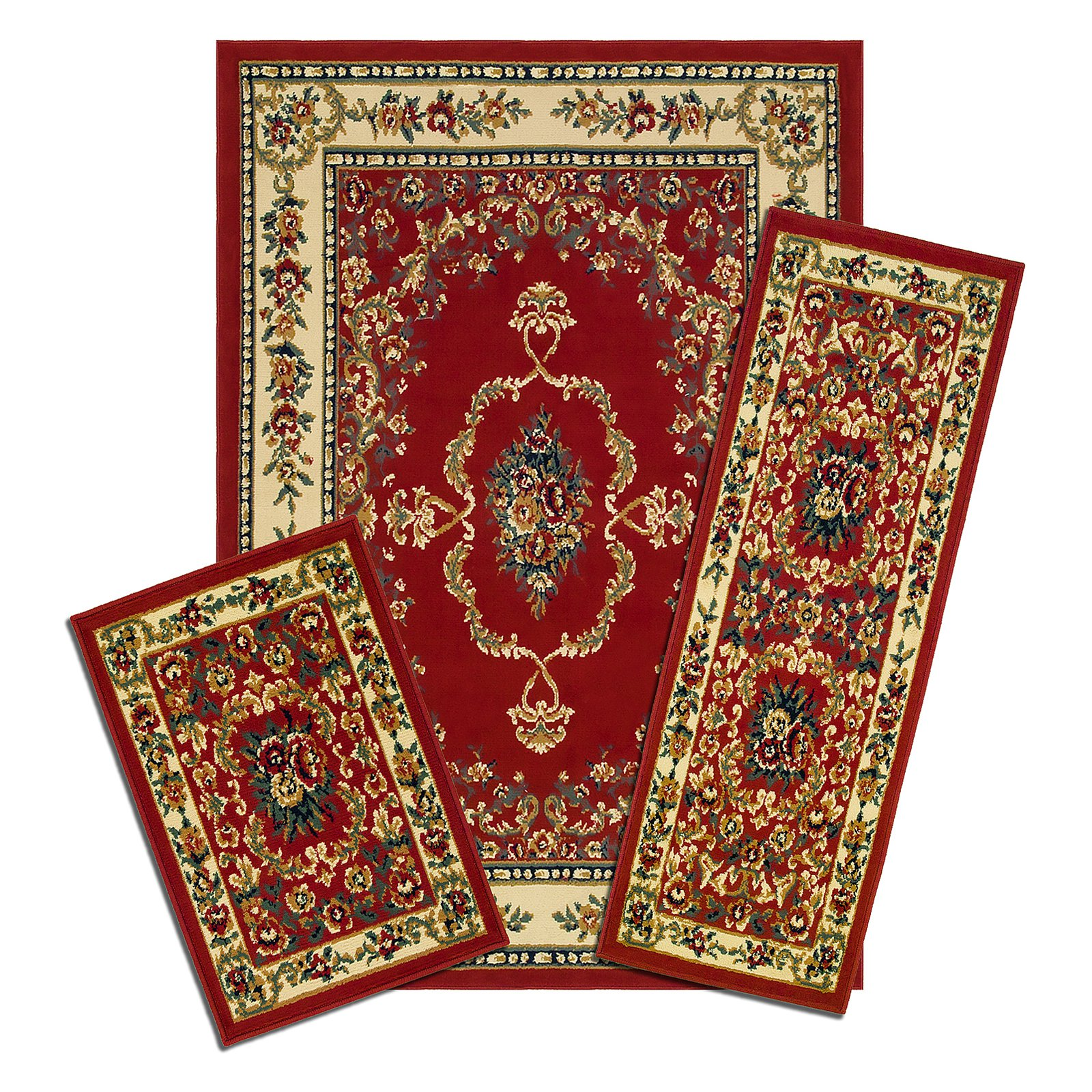 Click here to buy Capri 3 Piece Rug Set, Savonnerie Red by Creative Home.