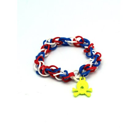 Yellow Skull Charm With Red White & Blue Loom Rubber Band Bracelet for $<!---->