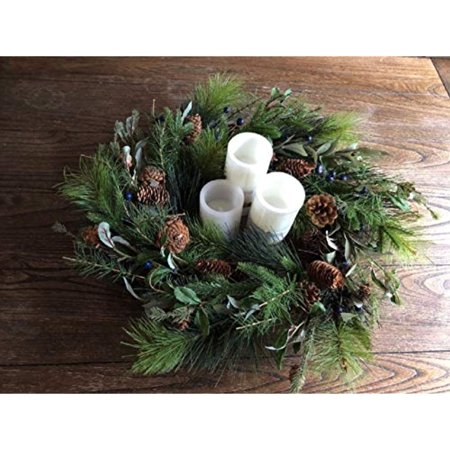 Phenomenal Holiday Decor Christmas Table Centerpiece Pine Artificial With 3 Candles Home Interior And Landscaping Ologienasavecom