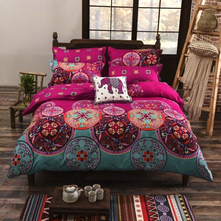 4Pcs/Set Winter Bohemian Mandala Comforters Duvet Sheets Cover with Pillow Case Quilt Cover Bedding Set for Home Bedroom Gifts,1.5M/2M