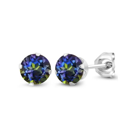 1.20 Ct Round Shape Blue Mystic Topaz 925 Sterling Silver Stud Earrings - image 3 of 3
