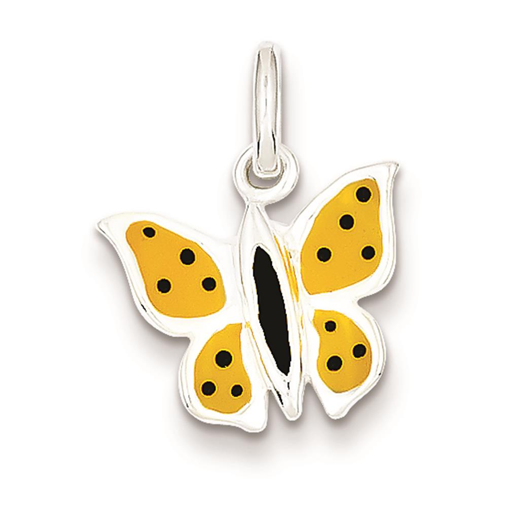 Sterling Silver Enameled Butterfly Polished & Solid Charm Pendant 20mmx15mm