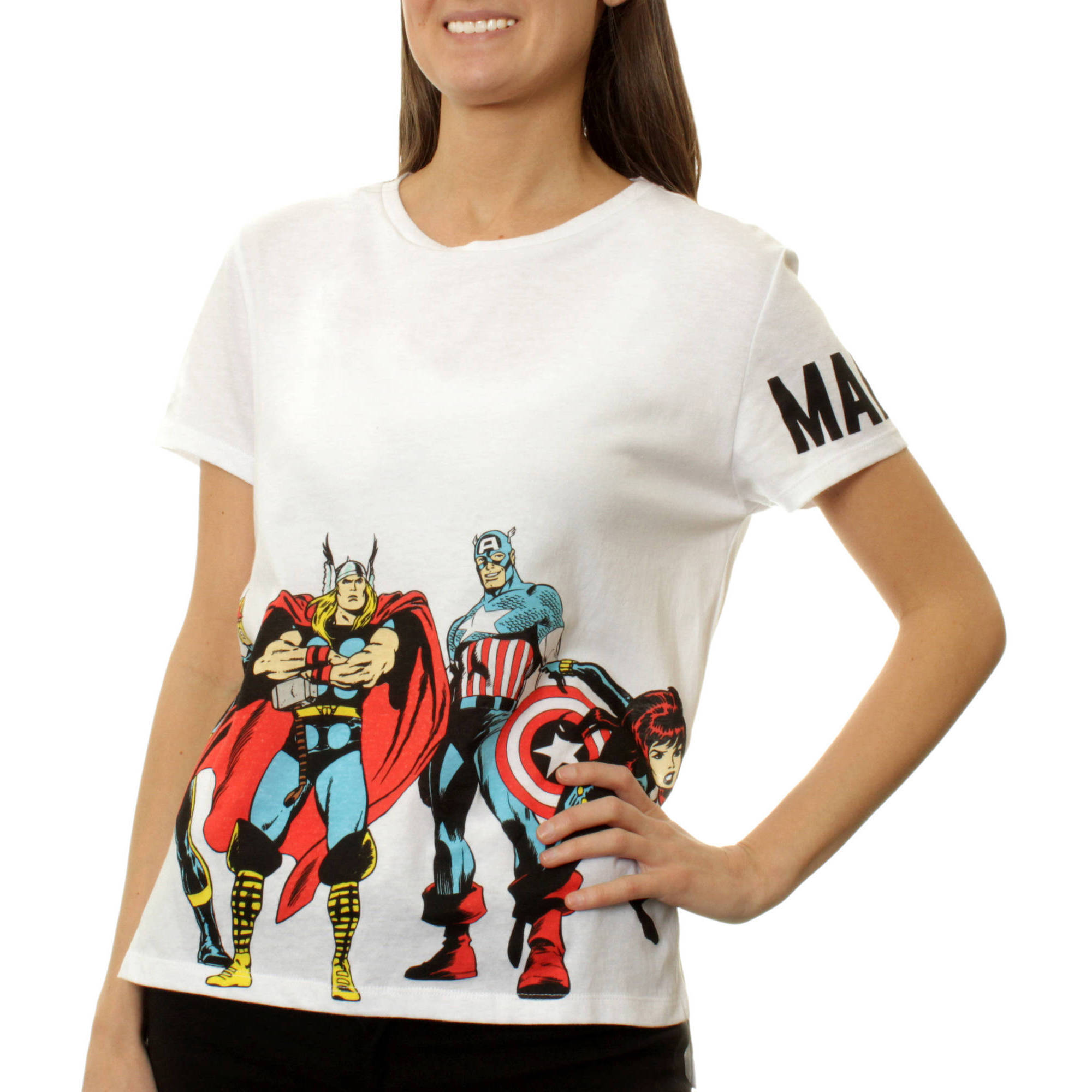 Marvel Juniors Graphic HiLo Step Tee with Sleeve Print