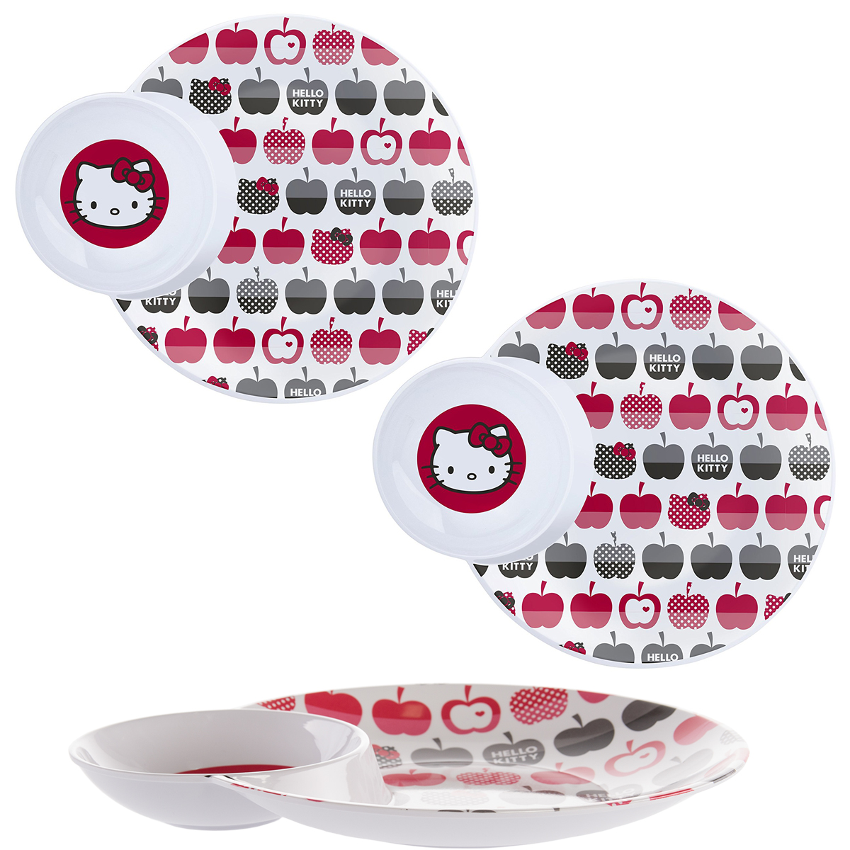 Hello Kitty (3 Pack) Divided 2-Section Plate With Bowl Kids Tableware Melamine Dishes