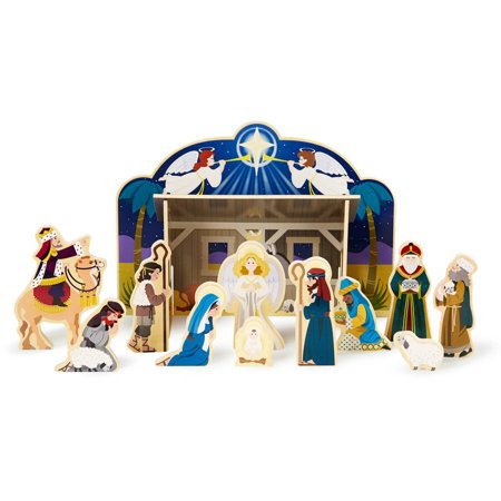Melissa & Doug Classic Wooden Christmas Nativity Set With 4-Piece Stable and 11 Wooden Figures