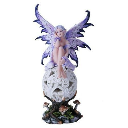 Purple Elegante Flower Fairie Sitting on Changing Color Led Orb MeadowMushroom Fairy Statue ()