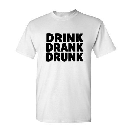 DRINK DRANK DRUNK - alcohol party beer - Mens Cotton T-Shirt -