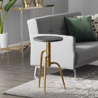 """DecMode Round Dark Marble Accent Table With Gold Metal Inlay And Base, 14"""" X 25"""""""