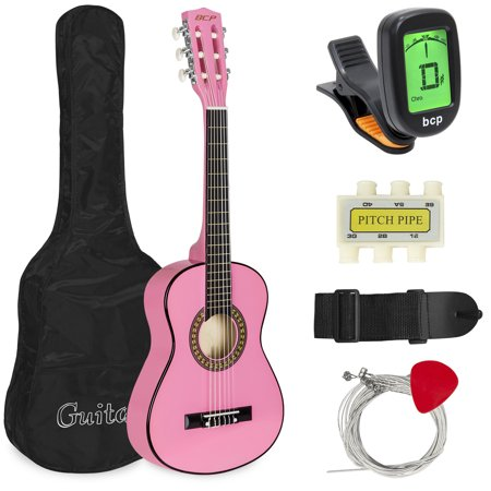 Best Choice Products 30in Kids Classical Acoustic Guitar Complete Beginners Set, Musical Instrument Kit w/ Carry Bag, Picks, E-Tuner, Strap - Pink