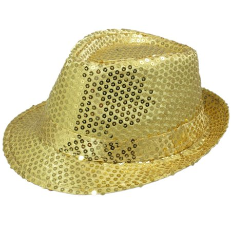 Dancer Sequin Costume Hat: Gold