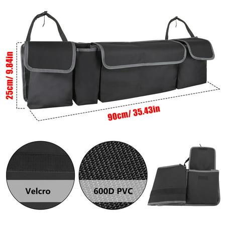 TSV Foldable Car Storage Bag Large Capacity Auto Backseat Toys Spares Organizer for SUV Truck, Multi-purpose Car Trunk Hanging Organizer Storage Bag with Lids, 4 Pockets & Adjustable Strap
