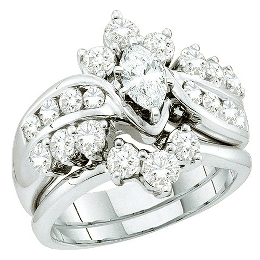 Dazzling Rock 1.99 Carat (ctw) 14k White Gold Round & Mar...