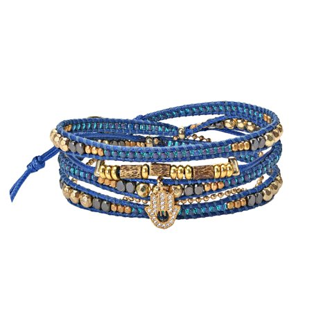 Shimmering Brass and CZ Hamsa Hand Beaded Blue Leather Wrap Bracelet