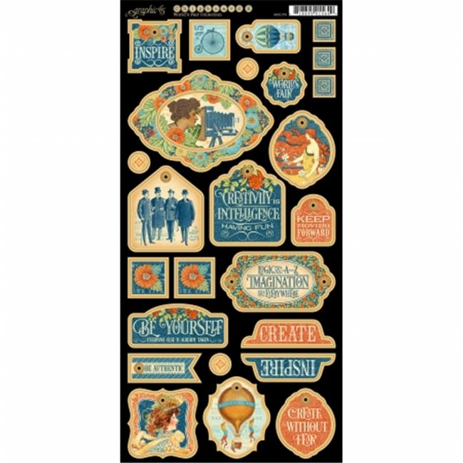 Graphic 45 G4501179 Worlds Fair Chipboard Die - Cuts 6 x 12 inch Sheet - Decorative