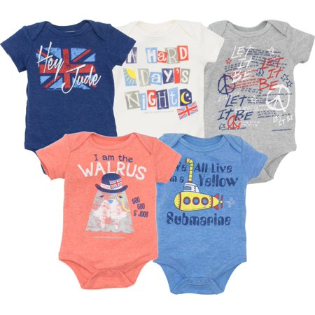 The Beatles Lyrics Infant Baby Boys' 5 Pack Bodysuits Blue, Red, White,  Navy, Grey (12 Months)