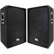 """Seismic Audio Pair of Powered 2-Way 15"""" PA / DJ Speaker Cabinets with Titanium Horns - 350W - SA-15T-PW-Pair"""