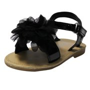 Stepping Stones Little Girls Gladiator Black Sandals with Flower and Back Straps Girls Strappy Sandals For Casual or Dress Open Toe Summer Sandals Infant Toddler Kids Shoes for Children Slide Size 3