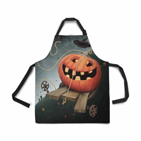 ASHLEIGH Adjustable Bib Apron for Women Men Girls Chef with Pockets Fun Pumpkin Autumn Holiday Halloween Novelty Kitchen Apron for Cooking Baking Gardening Pet Grooming Cleaning (Baking For Halloween)