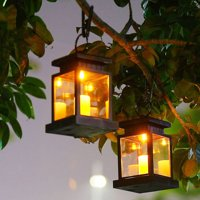 2 Pack Solar Lantern,Outdoor Garden Hanging Lantern-Waterproof LED Flickering Flameless Candles Mission Lantern for Table,Outdoor,Party