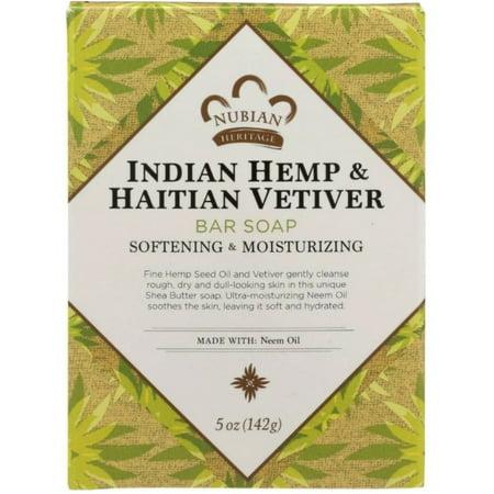 Nubian Heritage Indian Hemp & Haitian Vetiver Soap 5 oz (Pack of