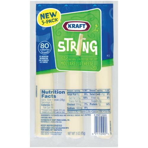 Kraft Low-Moisture Part-Skim Mozzarella String Cheese, 3 count, 3 oz
