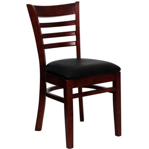 Flash Furniture Ladder Back Chairs - Set of 2, Mahogany / Black Vinyl Seat