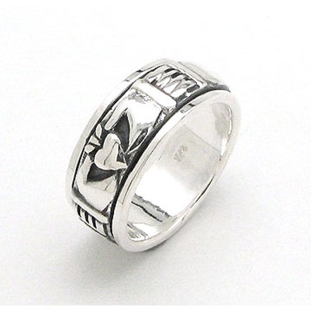 Unusual Spinning Sterling Silver Celtic Claddagh Spin Worry Band - Spinning Gear Ring