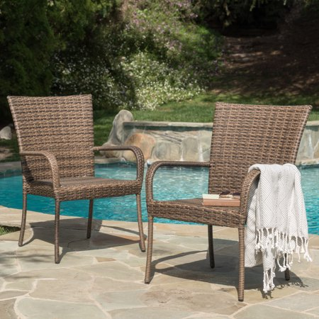 Elmira Outdoor Wicker Stackable Club Chairs, Set of 2, Mixed Mocha (Wicker Chair Outdoor)