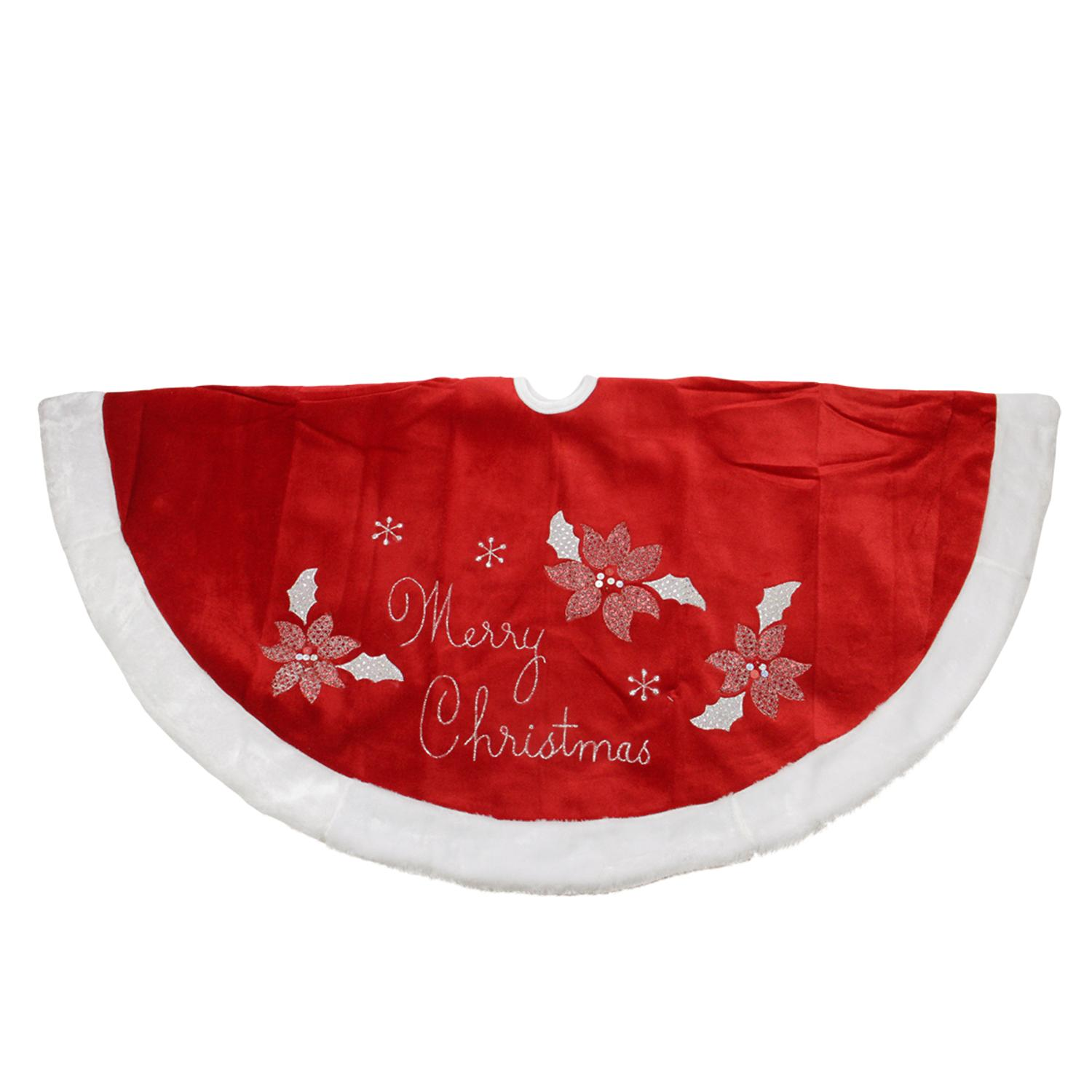 "48"" Embroidered Red Velveteen Poinsettia ""Merry Christmas"" Tree Skirt with White Faux Fur Trim"