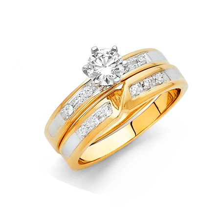- 14K Solid Two Tone Gold Brilliant Cut Solitaire Cubic Zirconia with Round Side Stone Wedding Engagement Ring 2 Piece Set, Size 4.5