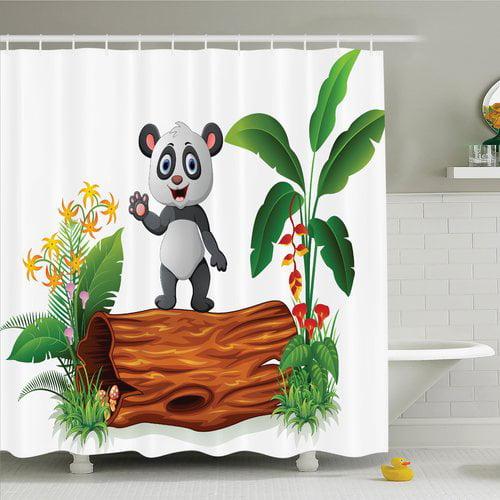 Ambesonne Animal Baby Panda Posing Shower Curtain Set