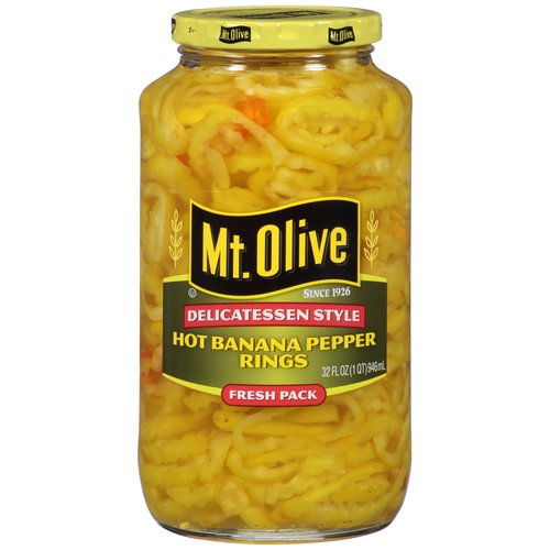 Mt. Olive Hot Banana Pepper Rings, 32 fl oz