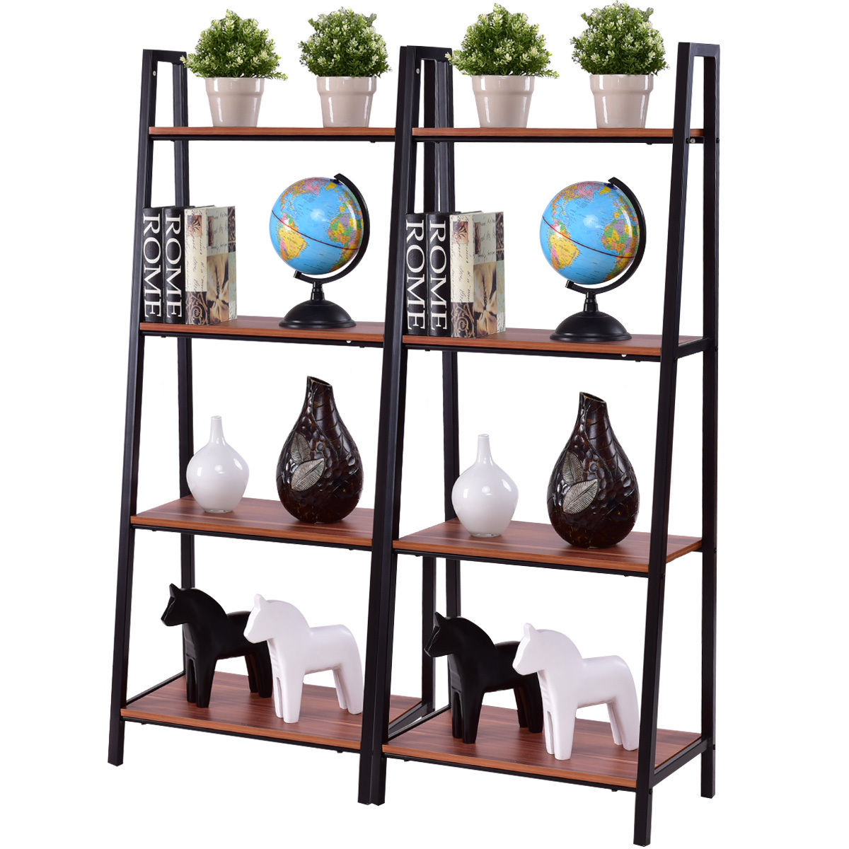 Costway 2PCS 4-Tier Ladder Storage Book Shelf Wall Bookcase Bundle Flower shelf