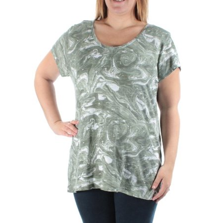 STYLE & COMPANY Womens Green Printed Cap Sleeve Jewel Neck T-Shirt Top  Size: M (Jewel Styles)