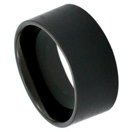 12mm Tungsten Carbide Black Enamel Pipe Cut Satin Finish Wedding Band Ring For Men Or Ladies Cut Tungsten Wedding Ring