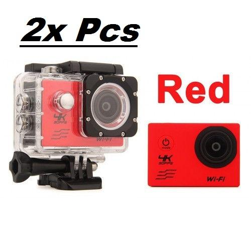 2x Red Sports Action Camera 4K HD Waterproof with Touch Screen LCD POV Adventure Camcorder with Accessories GoPro SJCAM Style