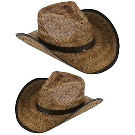 New Men's Women's Stained Brown Woven Straw Cowboy Hat (2 pack) - Inflatable Cowboy Hat