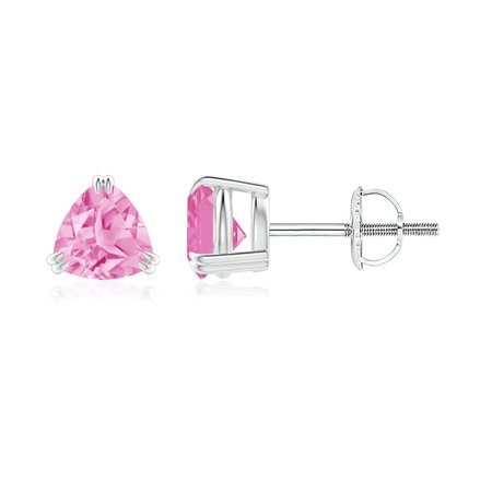 September Birthstone Earrings - Double Claw-Set Trillion Pink Sapphire Stud Earrings in 14K White Gold (5mm Pink Sapphire) -