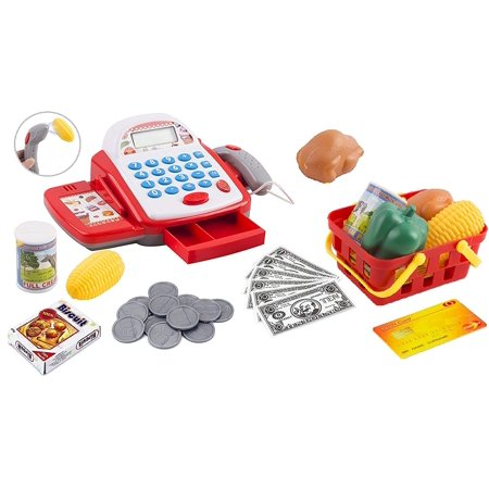 Toy Cash Register Pretend Play Supermarket Cashier Playset Colorful Children's Checkout With Calculator Microphone And Sounds Educational Learning Toys For Kids Toddlers And Preschool (White/Red) - Awesome Kid Toys