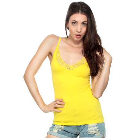 Sleeveless V Neck Lace Cami Tank Top, Yellow