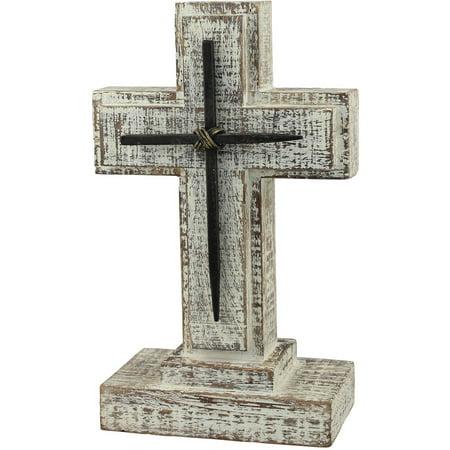"9"" Wooden Pedestal Cross with Metal Details"