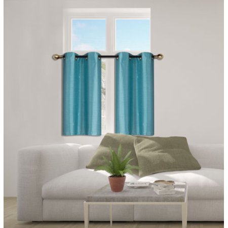 D24 Teal 2-Piece Energy Saving Room Darkening Grommet Top Window Curtain Set, 2 Blackout Panels For Short Window