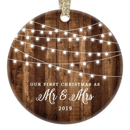 First Christmas as Mr & Mrs Ornament 2019, Rustic 1st Married Christmas Ornament, First Married, 3