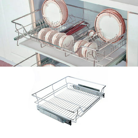 Walfront Roll Out Cabinet Basket Organizer Under Sink Cabinet Sliding Basket Organizer Drawer Expandable Shelf, 54 x 49 x (Over Sink Organizer)