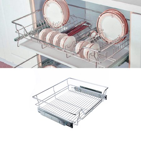 Sliding Rack Drawer (Walfront Roll Out Cabinet Basket Organizer Under Sink Cabinet Sliding Basket Organizer Drawer Expandable Shelf, 54 x 49 x 15cm)