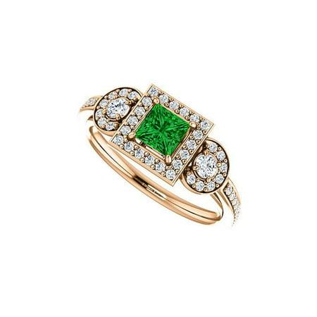 1CT 14K Rose Gold Emerald Diamonds Unique Style Halo Ring, Size 6 - image 1 de 1