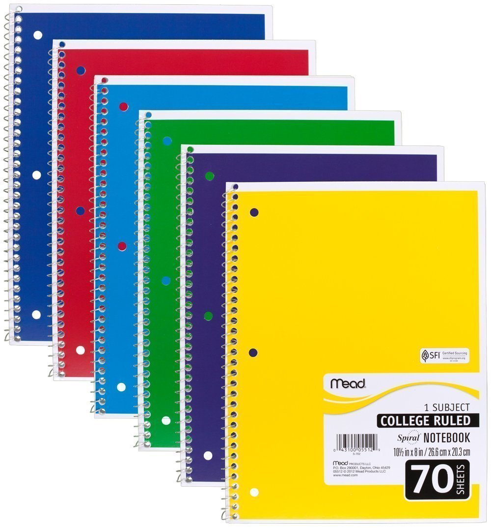"05512 Spiral Notebook, College Ruled 7.5"" x 10.5"" 70 Sheets, 1 Subject, 6 Pack, Colors May vary, Pack of 6 Notebooks By Mead"