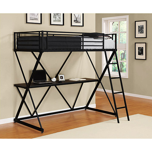 DHP X Twin Metal Loft Bed Over Desk Workstation, Black