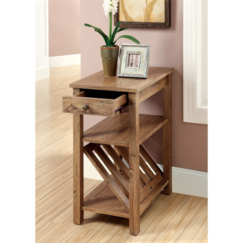 Furniture of America Stockton Magazine Rack End Table in White by Furniture of America