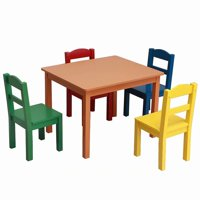 Akoyovwerve Children Play Table Chair 5Pcs Set Pine Wooden Kids Table, Multiple Colors